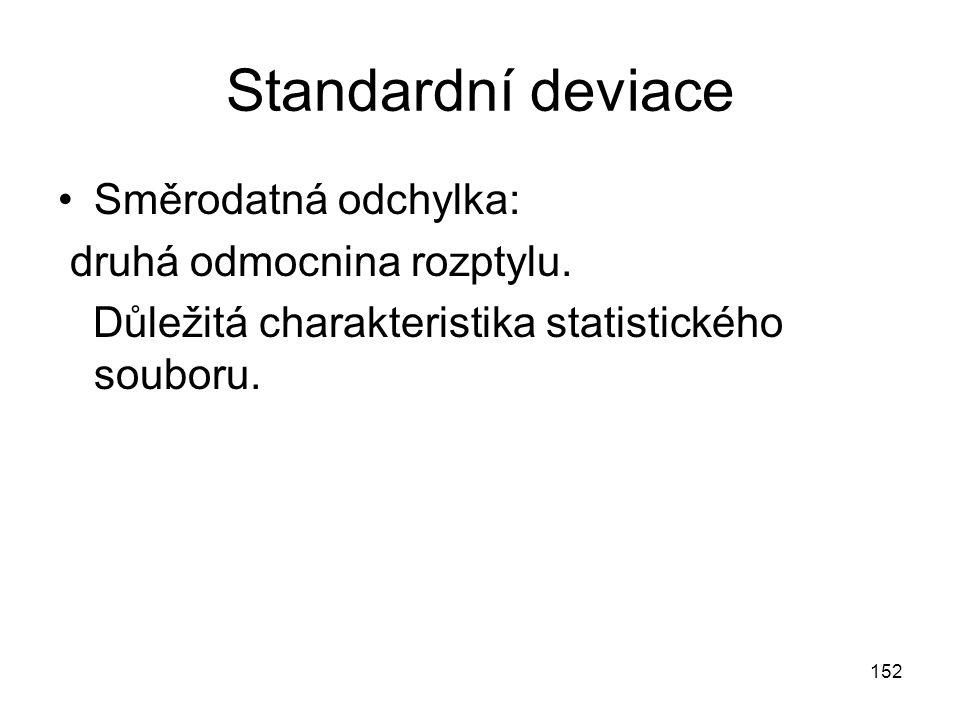 152 Standardní deviace Směrodatná odchylka: druhá odmocnina rozptylu. Důležitá charakteristika statistického souboru.