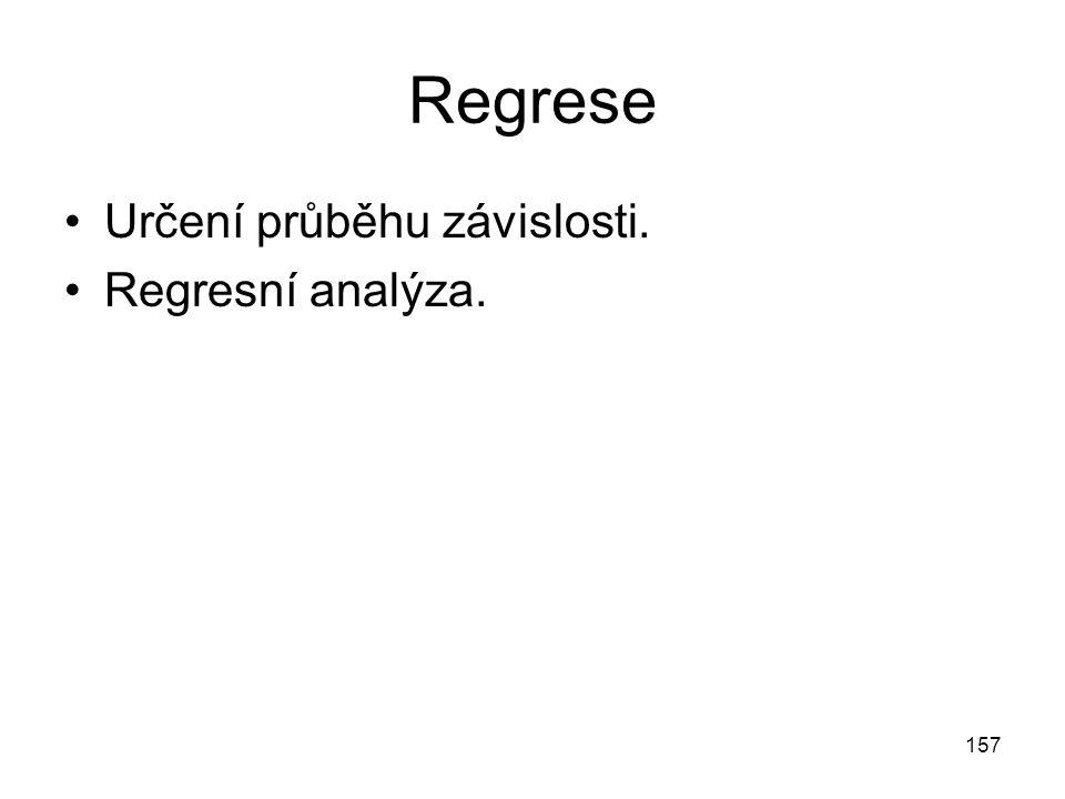 157 Regrese Určení průběhu závislosti. Regresní analýza.