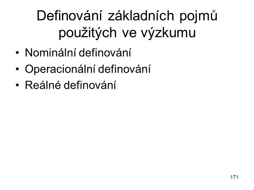 171 Definování základních pojmů použitých ve výzkumu Nominální definování Operacionální definování Reálné definování