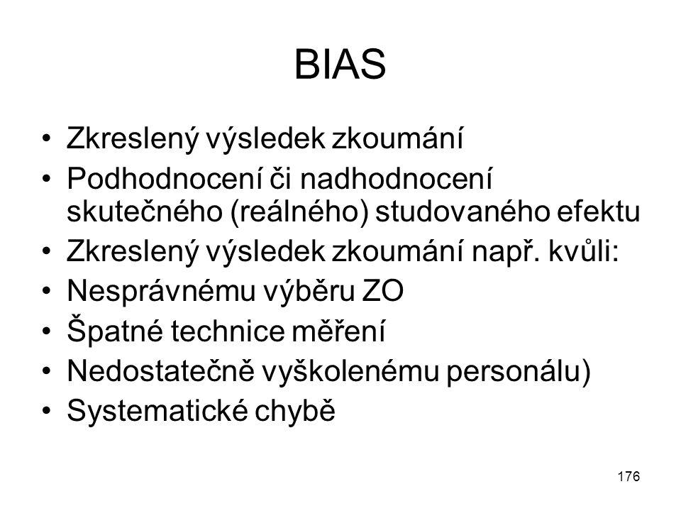 176 BIAS Zkreslený výsledek zkoumání Podhodnocení či nadhodnocení skutečného (reálného) studovaného efektu Zkreslený výsledek zkoumání např. kvůli: Ne