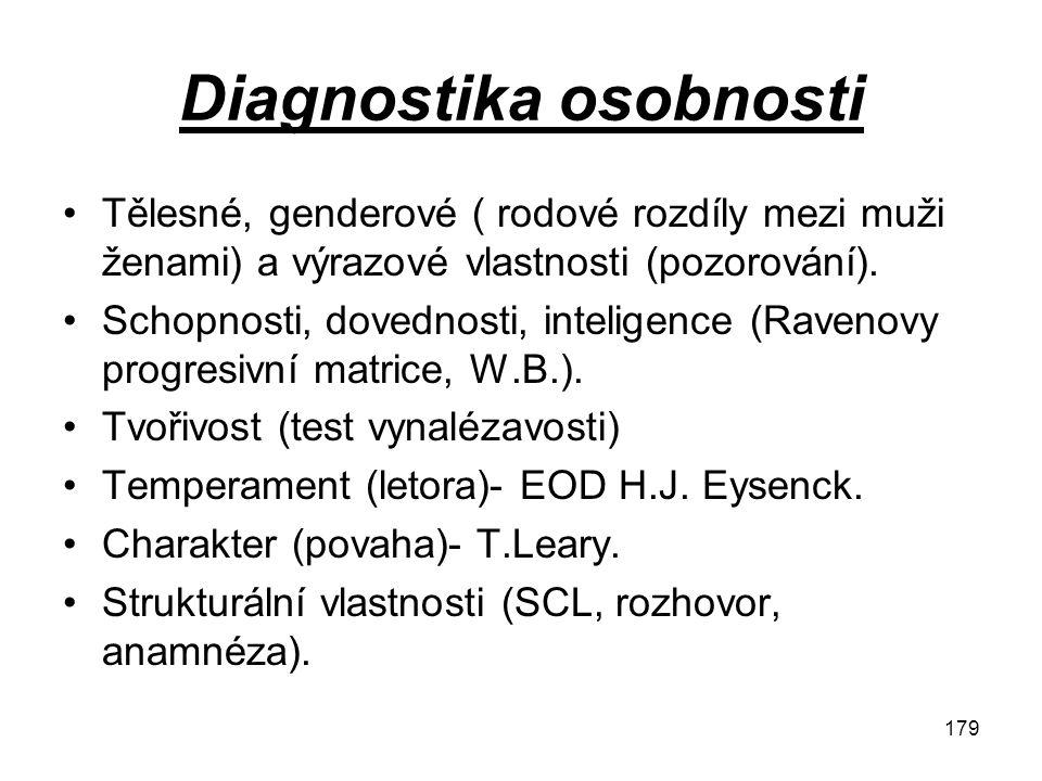 179 Diagnostika osobnosti Tělesné, genderové ( rodové rozdíly mezi muži ženami) a výrazové vlastnosti (pozorování). Schopnosti, dovednosti, inteligenc