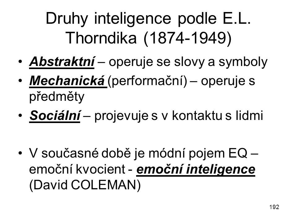 192 Druhy inteligence podle E.L. Thorndika (1874-1949) Abstraktní – operuje se slovy a symboly Mechanická (performační) – operuje s předměty Sociální