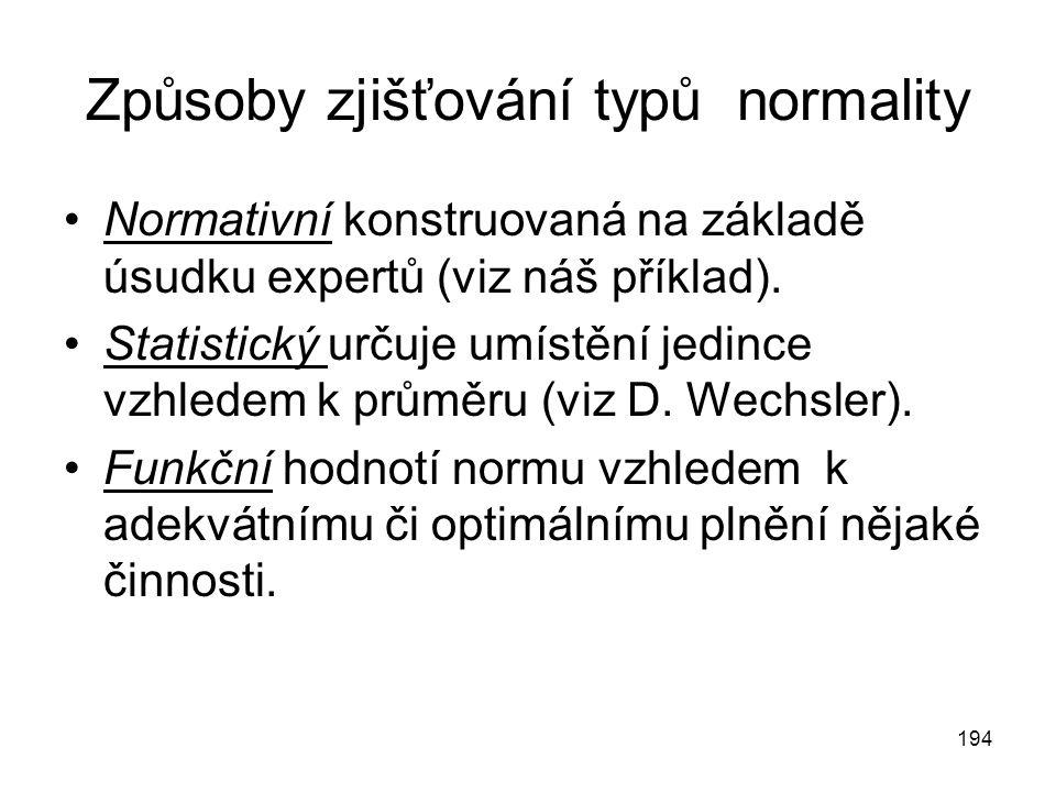 194 Způsoby zjišťování typů normality Normativní konstruovaná na základě úsudku expertů (viz náš příklad). Statistický určuje umístění jedince vzhlede