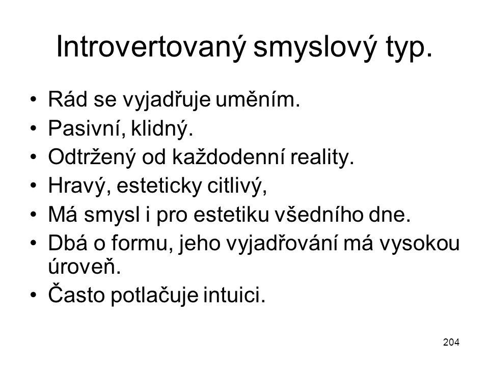 204 Introvertovaný smyslový typ. Rád se vyjadřuje uměním. Pasivní, klidný. Odtržený od každodenní reality. Hravý, esteticky citlivý, Má smysl i pro es