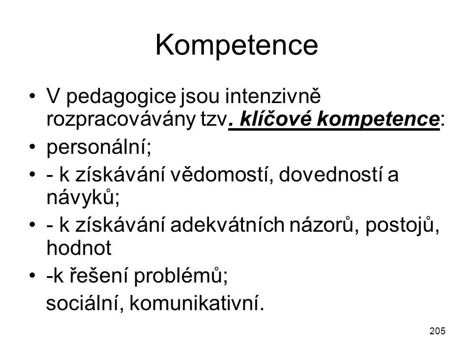 205 Kompetence V pedagogice jsou intenzivně rozpracovávány tzv. klíčové kompetence: personální; - k získávání vědomostí, dovedností a návyků; - k získ