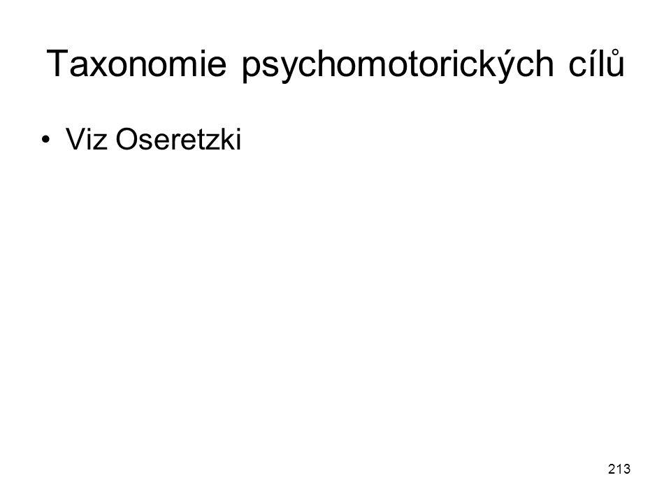 213 Taxonomie psychomotorických cílů Viz Oseretzki