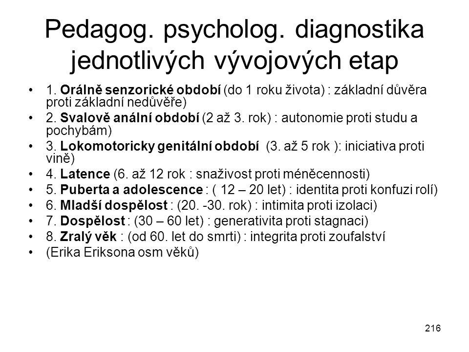 216 Pedagog. psycholog. diagnostika jednotlivých vývojových etap 1. Orálně senzorické období (do 1 roku života) : základní důvěra proti základní nedův