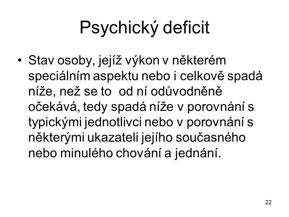 22 Psychický deficit Stav osoby, jejíž výkon v některém speciálním aspektu nebo i celkově spadá níže, než se to od ní odůvodněně očekává, tedy spadá n
