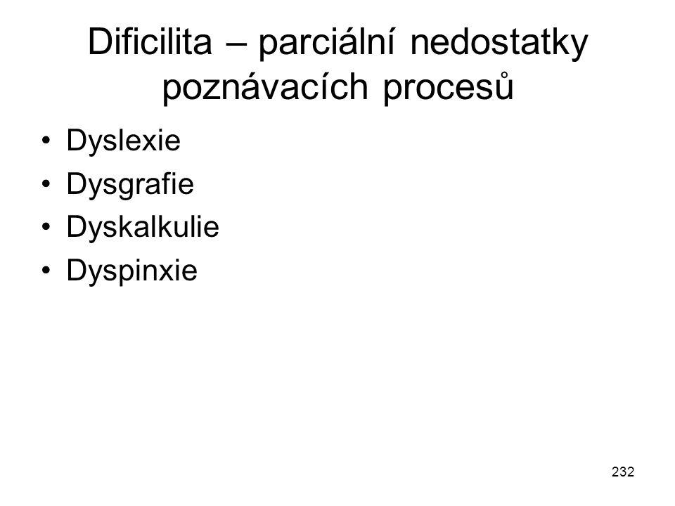 232 Dificilita – parciální nedostatky poznávacích procesů Dyslexie Dysgrafie Dyskalkulie Dyspinxie