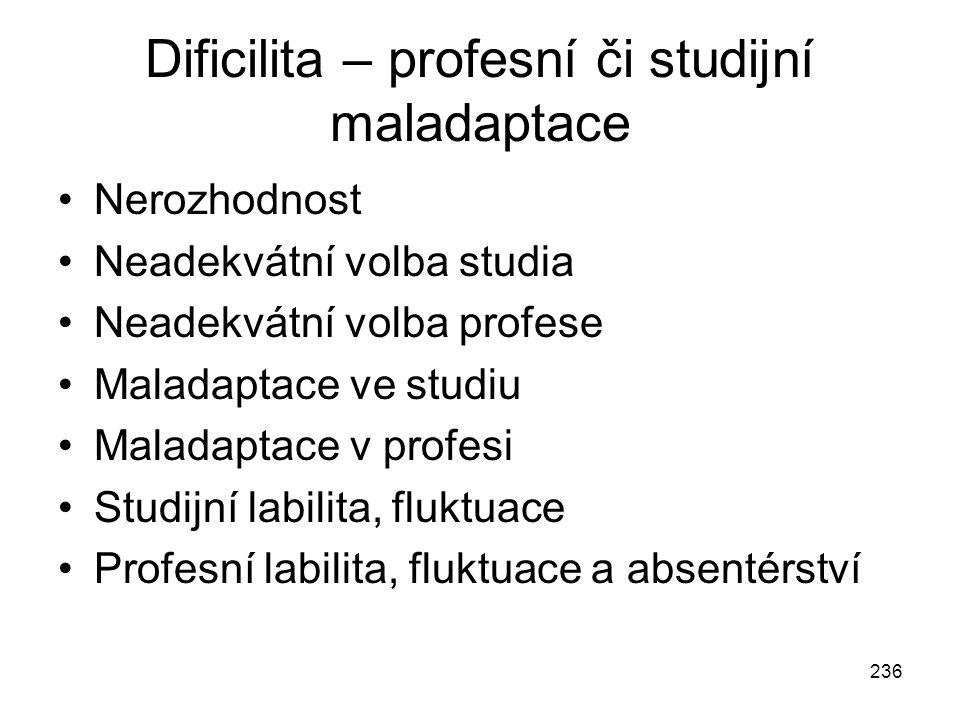 236 Dificilita – profesní či studijní maladaptace Nerozhodnost Neadekvátní volba studia Neadekvátní volba profese Maladaptace ve studiu Maladaptace v