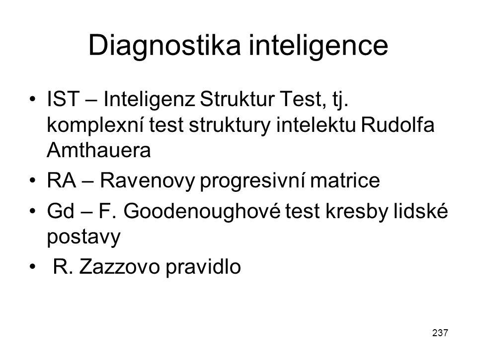 237 Diagnostika inteligence IST – Inteligenz Struktur Test, tj. komplexní test struktury intelektu Rudolfa Amthauera RA – Ravenovy progresivní matrice