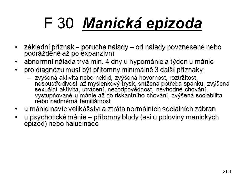 254 F 30 Manická epizoda základní příznak – porucha nálady – od nálady povznesené nebo podrážděné až po expanzivnízákladní příznak – porucha nálady –