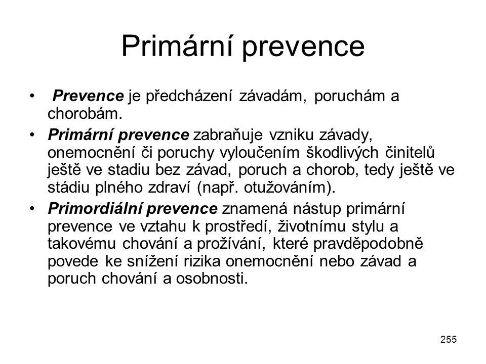 255 Primární prevence Prevence je předcházení závadám, poruchám a chorobám. Primární prevence zabraňuje vzniku závady, onemocnění či poruchy vyloučení