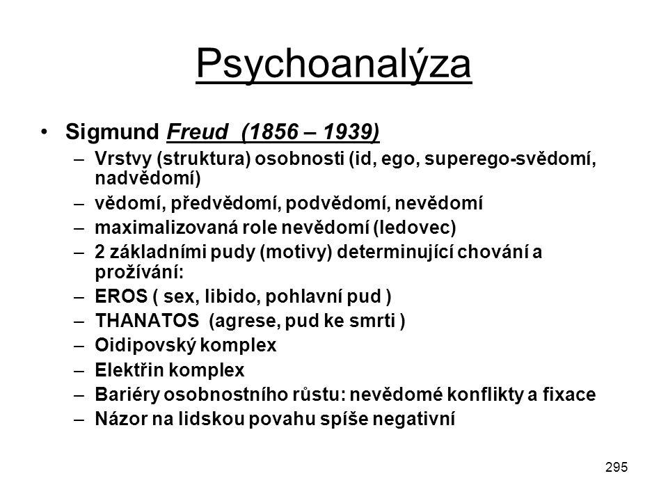 295 Psychoanalýza Sigmund Freud (1856 – 1939) –Vrstvy (struktura) osobnosti (id, ego, superego-svědomí, nadvědomí) –vědomí, předvědomí, podvědomí, nev