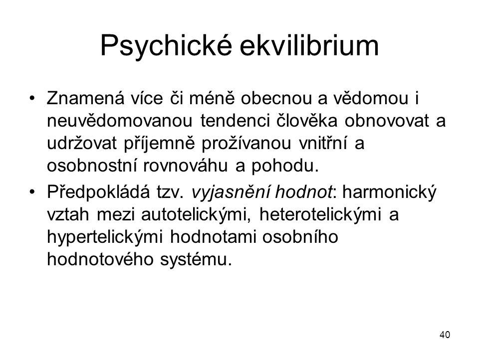 40 Psychické ekvilibrium Znamená více či méně obecnou a vědomou i neuvědomovanou tendenci člověka obnovovat a udržovat příjemně prožívanou vnitřní a o