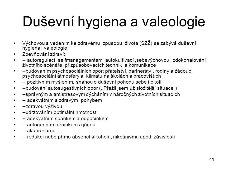 41 Duševní hygiena a valeologie Výchovou a vedením ke zdravému způsobu života (SZŽ) se zabývá duševní hygiena i valeologie. Zpevňování zdraví: -- auto