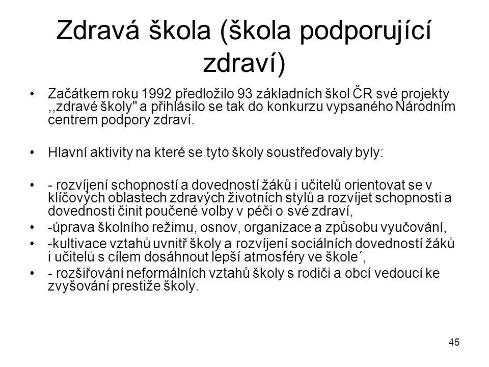 45 Zdravá škola (škola podporující zdraví) Začátkem roku 1992 předložilo 93 základních škol ČR své projekty,,zdravé školy
