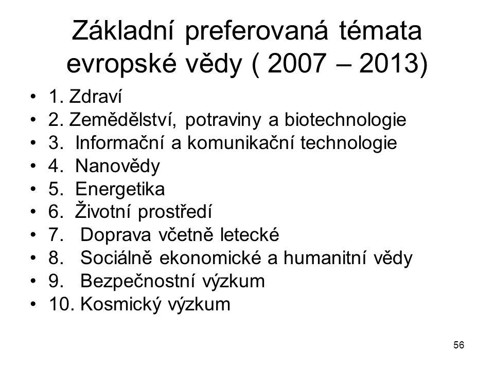 56 Základní preferovaná témata evropské vědy ( 2007 – 2013) 1. Zdraví 2. Zemědělství, potraviny a biotechnologie 3. Informační a komunikační technolog