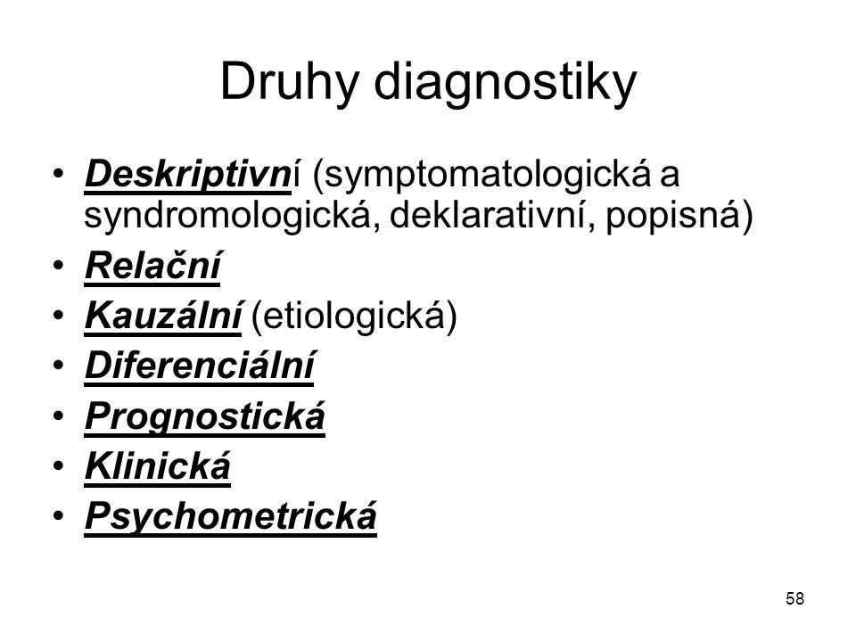 58 Druhy diagnostiky Deskriptivní (symptomatologická a syndromologická, deklarativní, popisná) Relační Kauzální (etiologická) Diferenciální Prognostic