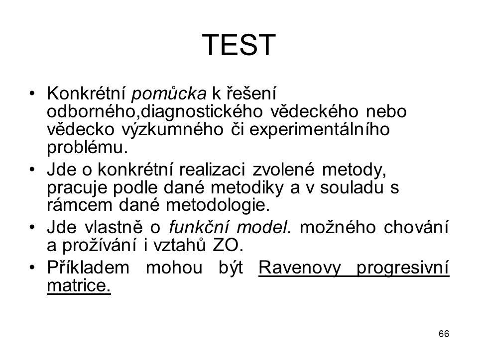 66 TEST Konkrétní pomůcka k řešení odborného,diagnostického vědeckého nebo vědecko výzkumného či experimentálního problému. Jde o konkrétní realizaci