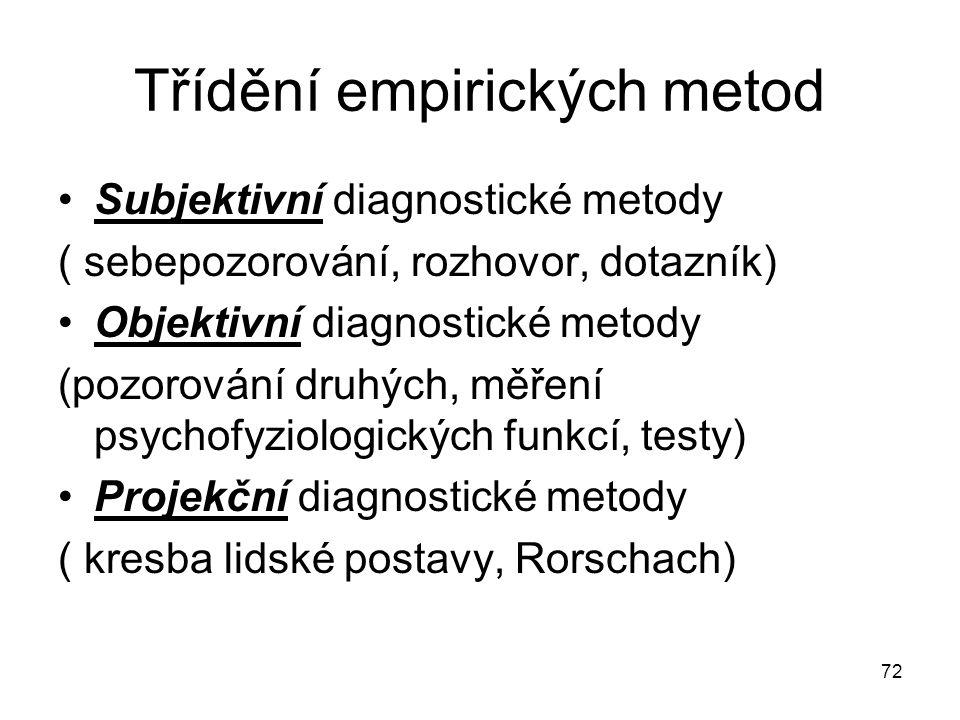 72 Třídění empirických metod Subjektivní diagnostické metody ( sebepozorování, rozhovor, dotazník) Objektivní diagnostické metody (pozorování druhých,