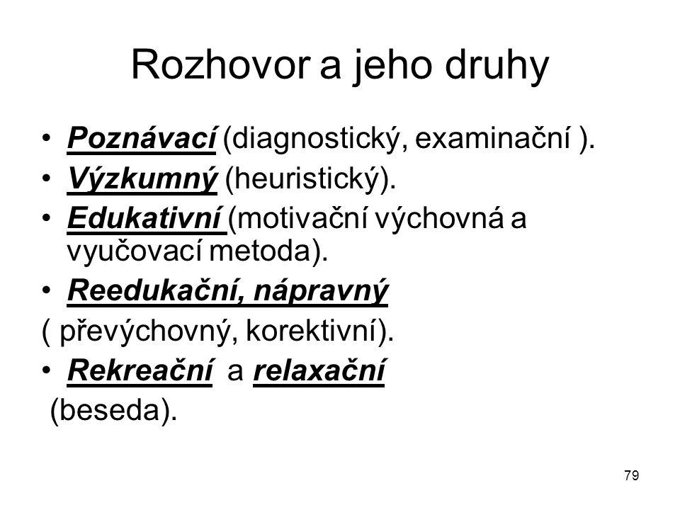79 Rozhovor a jeho druhy Poznávací (diagnostický, examinační ). Výzkumný (heuristický). Edukativní (motivační výchovná a vyučovací metoda). Reedukační