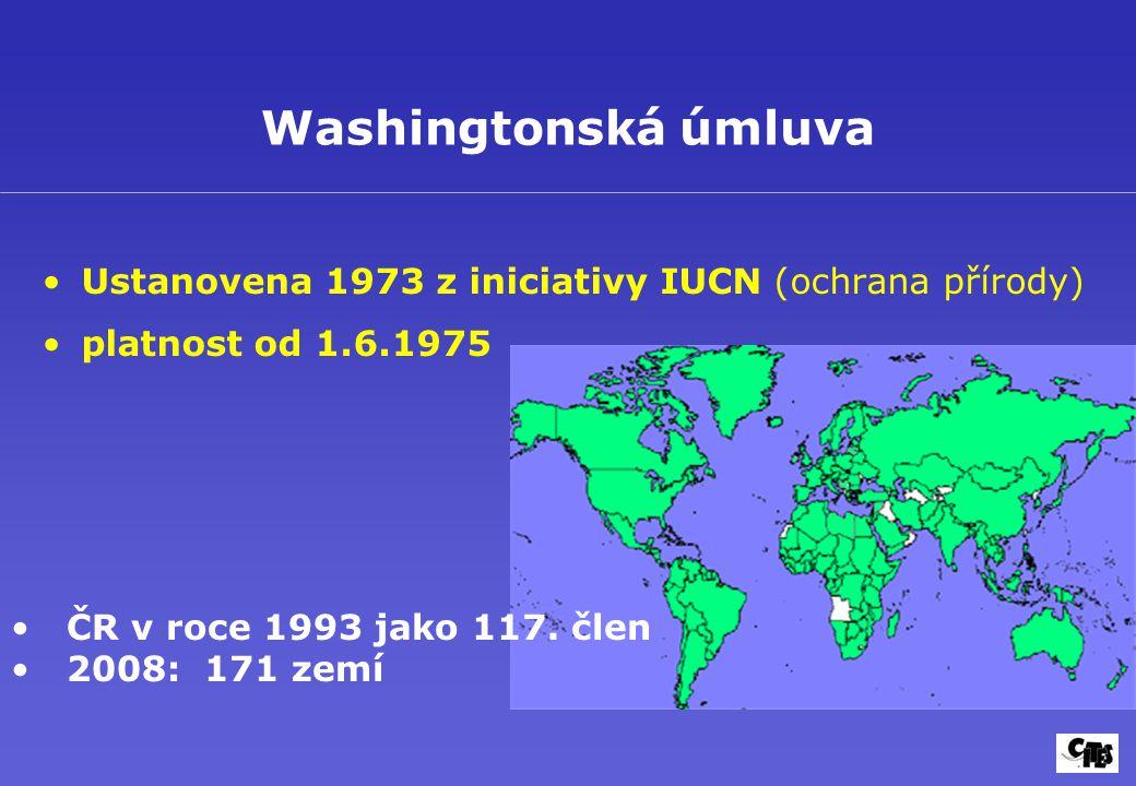 Washingtonská úmluva Ustanovena 1973 z iniciativy IUCN (ochrana přírody) platnost od 1.6.1975 ČR v roce 1993 jako 117. člen 2008: 171 zemí