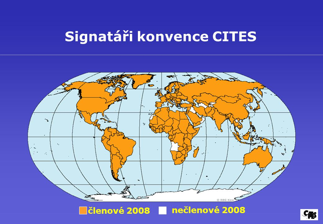 členové 2008 nečlenové 2008 Signatáři konvence CITES