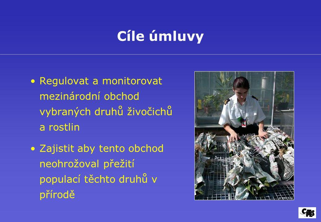 Regulovat a monitorovat mezinárodní obchod vybraných druhů živočichů a rostlin Zajistit aby tento obchod neohrožoval přežití populací těchto druhů v přírodě Cíle úmluvy