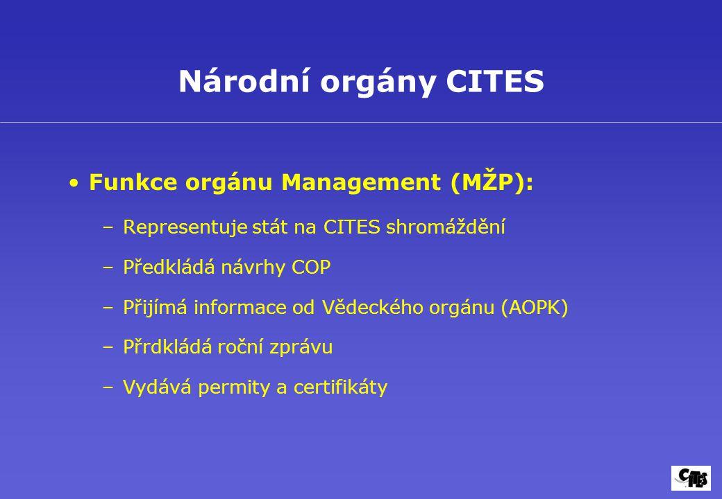 Národní orgány CITES Funkce orgánu Management (MŽP): –Representuje stát na CITES shromáždění –Předkládá návrhy COP –Přijímá informace od Vědeckého org