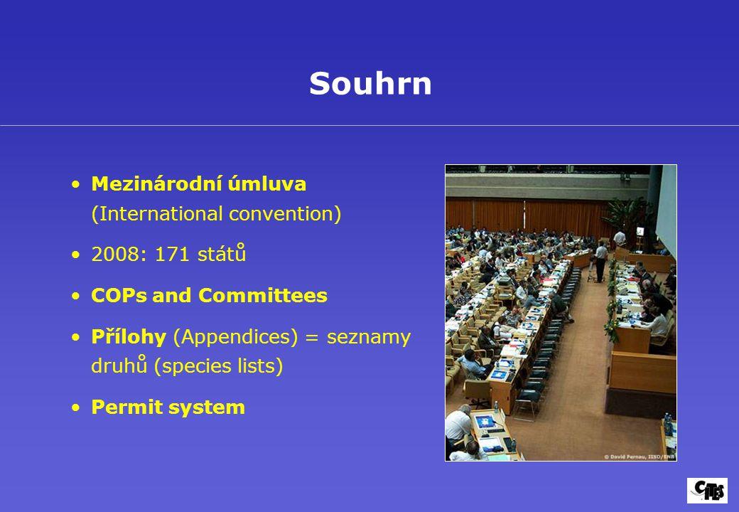 Mezinárodní úmluva (International convention) 2008: 171 států COPs and Committees Přílohy (Appendices) = seznamy druhů (species lists) Permit system Souhrn