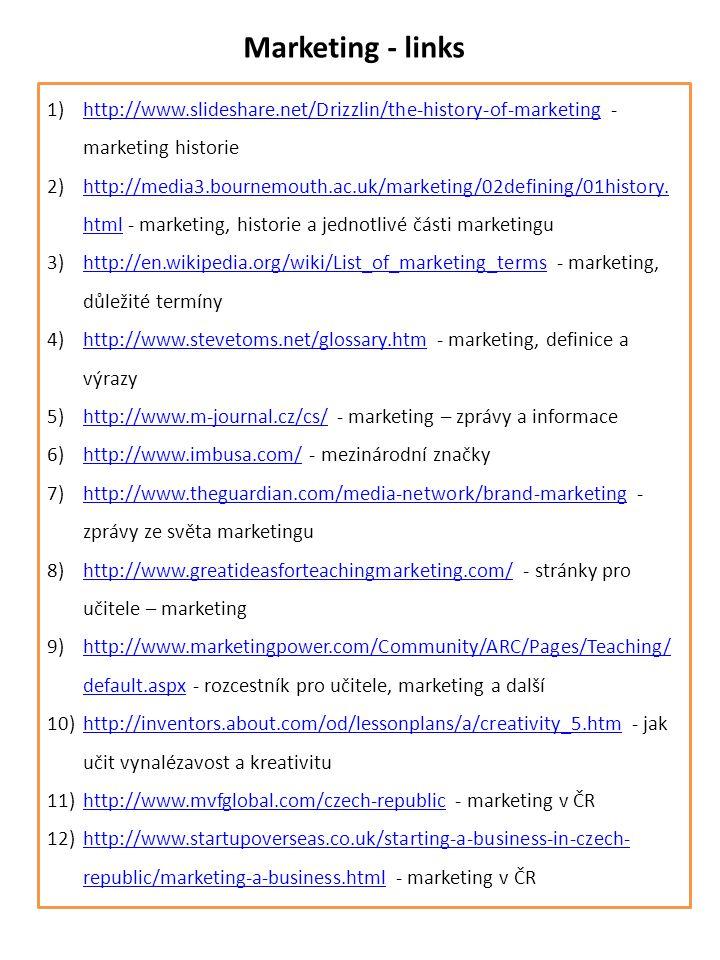 Marketing - links 1)http://www.slideshare.net/Drizzlin/the-history-of-marketing - marketing historiehttp://www.slideshare.net/Drizzlin/the-history-of-