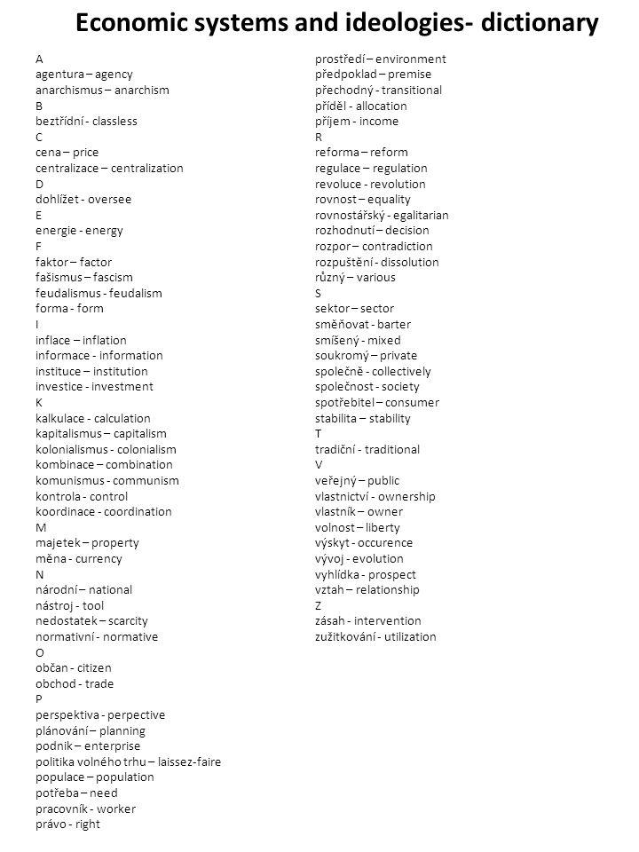 Economic systems and ideologies- dictionary A agentura – agency anarchismus – anarchism B beztřídní - classless C cena – price centralizace – centrali