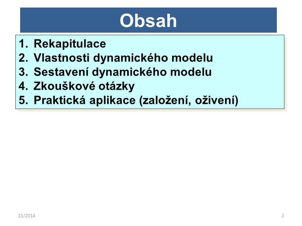 11/20142 Obsah 1.Rekapitulace 2.Vlastnosti dynamického modelu 3.Sestavení dynamického modelu 4.Zkouškové otázky 5.Praktická aplikace (založení, oživen