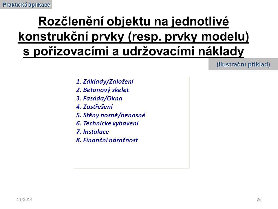 11/201426 Rozčlenění objektu na jednotlivé konstrukční prvky (resp. prvky modelu) s pořizovacími a udržovacími náklady 1. Základy/Založení 2. Betonový