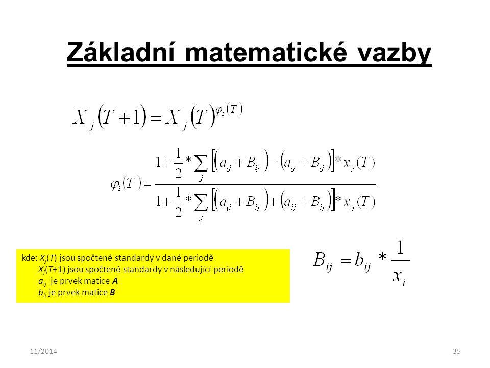 11/201435 Základní matematické vazby kde: X j (T) jsou spočtené standardy v dané periodě X j (T+1) jsou spočtené standardy v následující periodě a ij