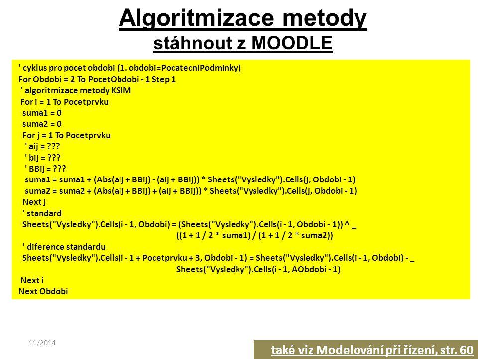 11/201436 Algoritmizace metody stáhnout z MOODLE ' cyklus pro pocet obdobi (1. obdobi=PocatecniPodminky) For Obdobi = 2 To PocetObdobi - 1 Step 1 ' al