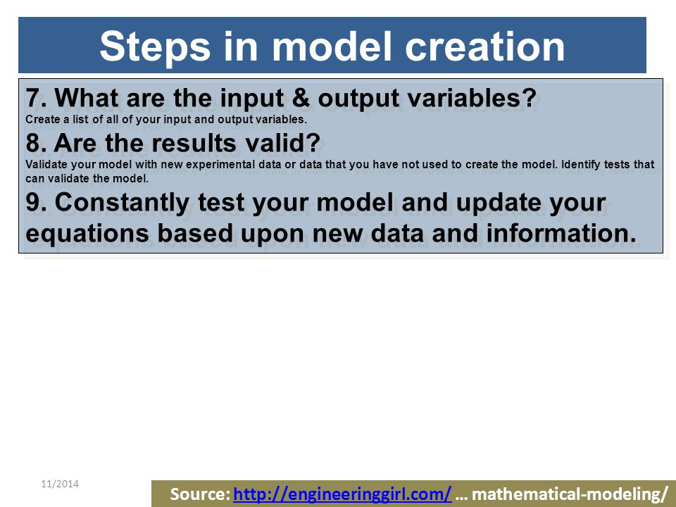 11/20149 Another Steps in Model Creation 1.Gather information 2.Make a strategy 3.Conduct a thorough literature review 4.Learn Data Handling So think carefully about how you are going to handle missing data.