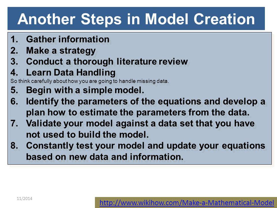 11/201410 Classifying Mathematical Models 1.