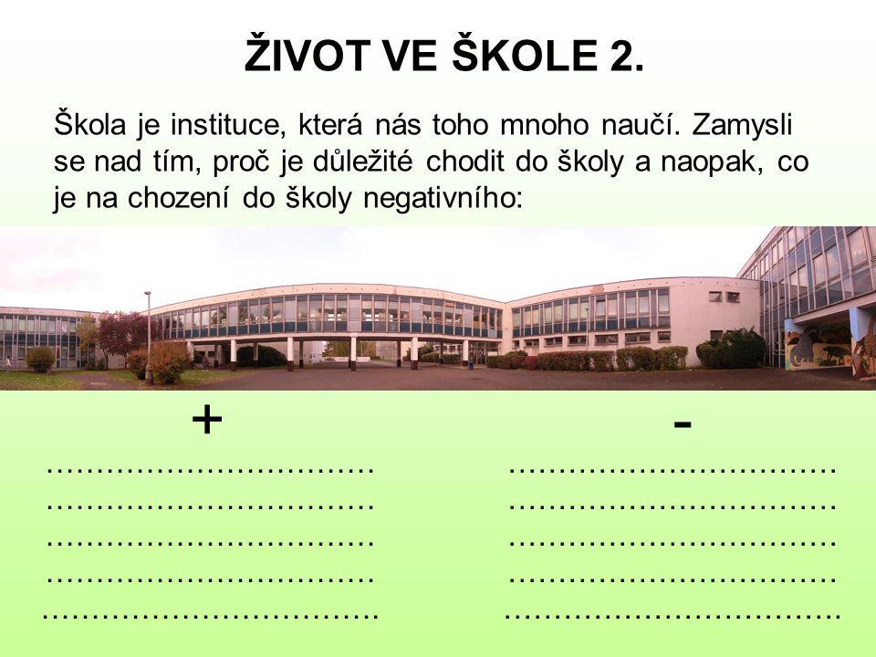 ŽIVOT VE ŠKOLE 2. Škola je instituce, která nás toho mnoho naučí. Zamysli se nad tím, proč je důležité chodit do školy a naopak, co je na chození do š
