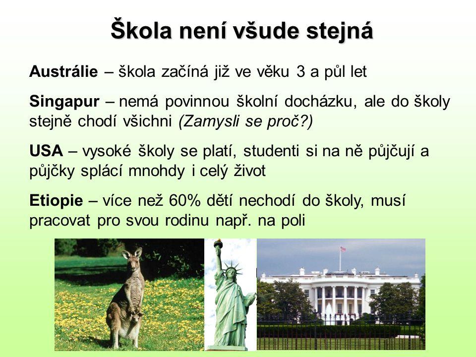 Žáci v ČR si mohou vybírat z mnoha typů škol: 1) státní 2) soukromá 3) domácí 4) škola hrou 5) školy se sport.