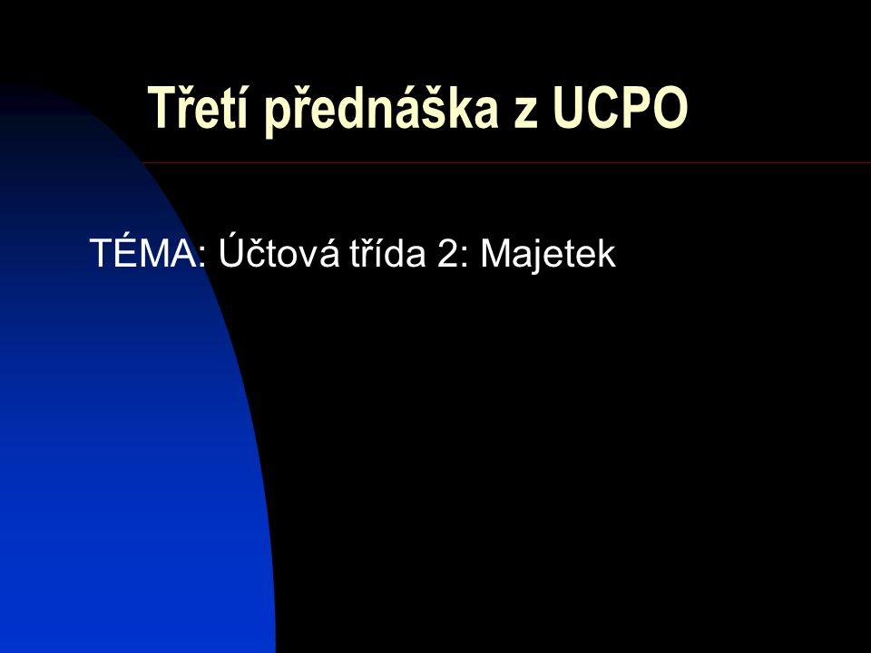 Třetí přednáška z UCPO TÉMA: Účtová třída 2: Majetek