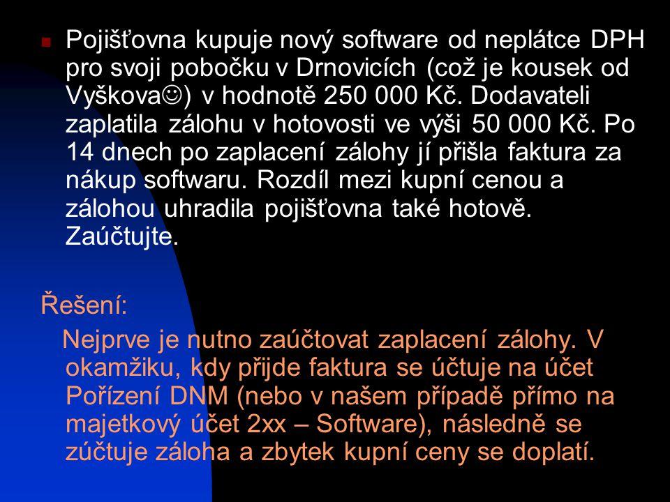 Pojišťovna kupuje nový software od neplátce DPH pro svoji pobočku v Drnovicích (což je kousek od Vyškova ) v hodnotě 250 000 Kč.