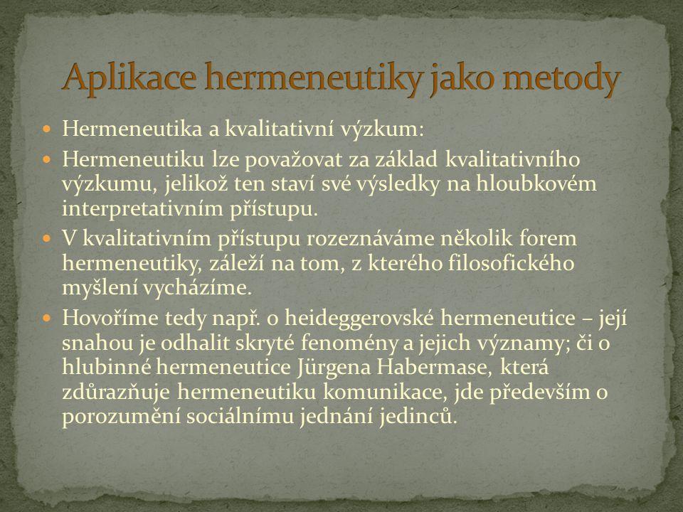 Hermeneutika a kvalitativní výzkum: Hermeneutiku lze považovat za základ kvalitativního výzkumu, jelikož ten staví své výsledky na hloubkovém interpre