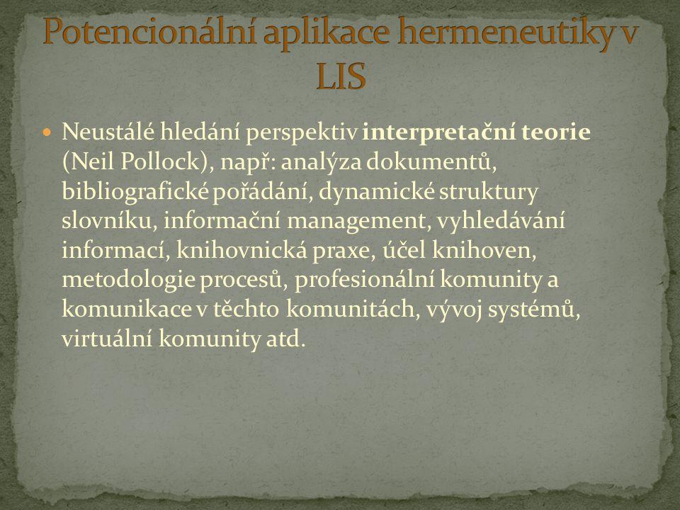 Neustálé hledání perspektiv interpretační teorie (Neil Pollock), např: analýza dokumentů, bibliografické pořádání, dynamické struktury slovníku, infor