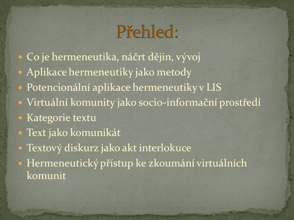 Co je hermeneutika, náčrt dějin, vývoj Aplikace hermeneutiky jako metody Potencionální aplikace hermeneutiky v LIS Virtuální komunity jako socio-infor