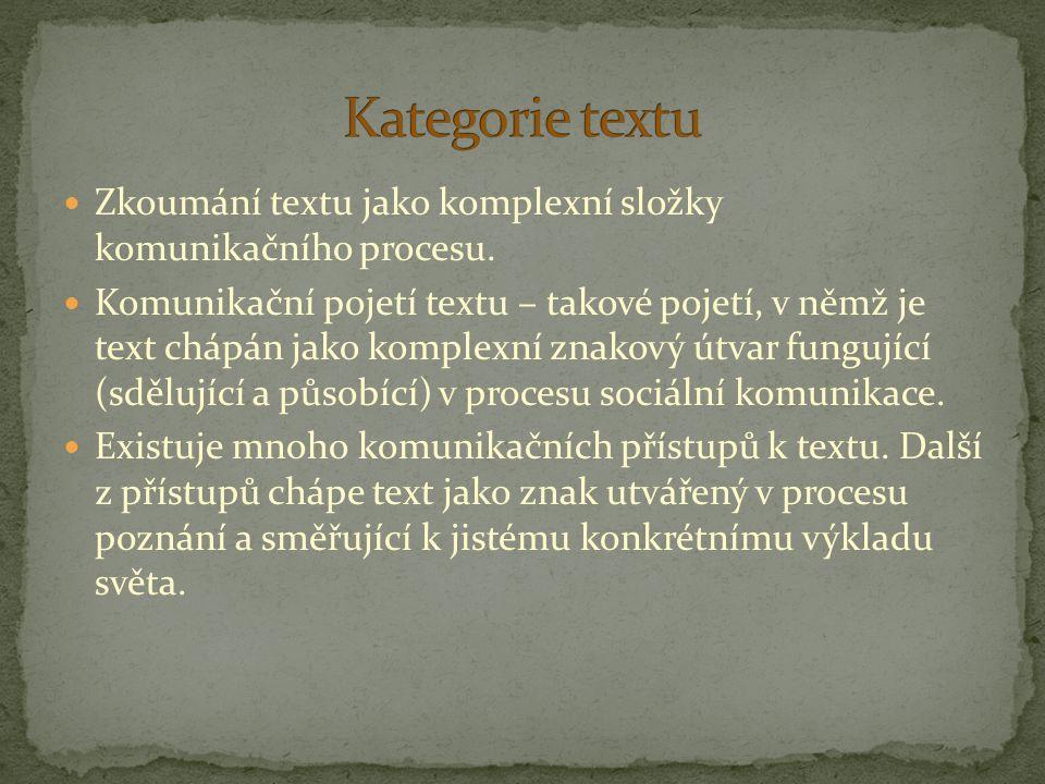 Zkoumání textu jako komplexní složky komunikačního procesu. Komunikační pojetí textu – takové pojetí, v němž je text chápán jako komplexní znakový útv