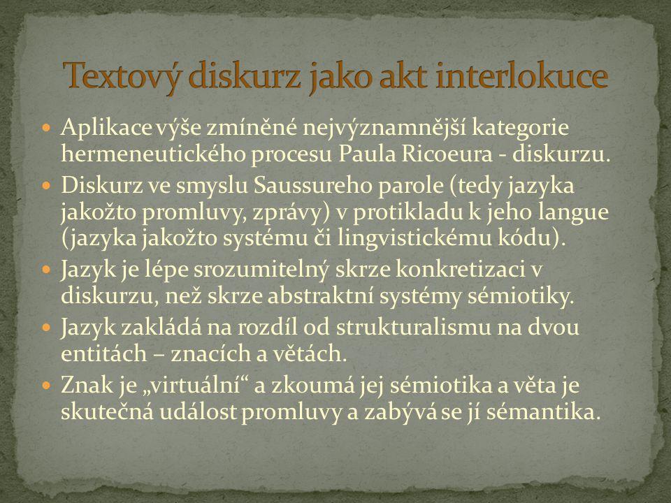 Aplikace výše zmíněné nejvýznamnější kategorie hermeneutického procesu Paula Ricoeura - diskurzu. Diskurz ve smyslu Saussureho parole (tedy jazyka jak