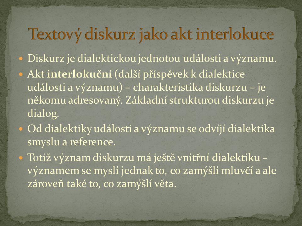 Diskurz je dialektickou jednotou události a významu. Akt interlokuční (další příspěvek k dialektice události a významu) – charakteristika diskurzu – j