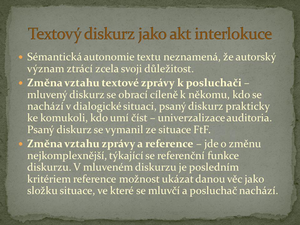 Sémantická autonomie textu neznamená, že autorský význam ztrácí zcela svoji důležitost. Změna vztahu textové zprávy k posluchači – mluvený diskurz se